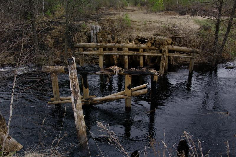 Старый мост в  весеннее половодье
