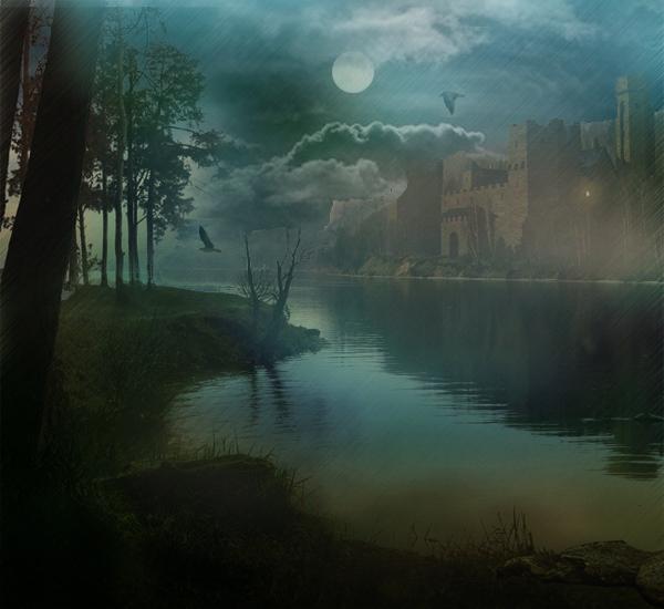 ... озеро, замок, дождь ...