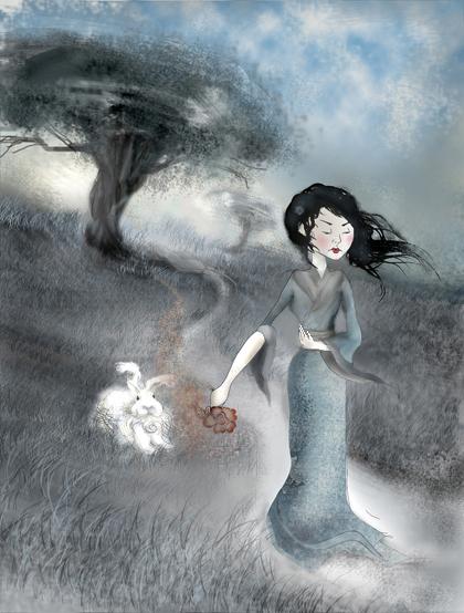 Малышка с белым кроликом