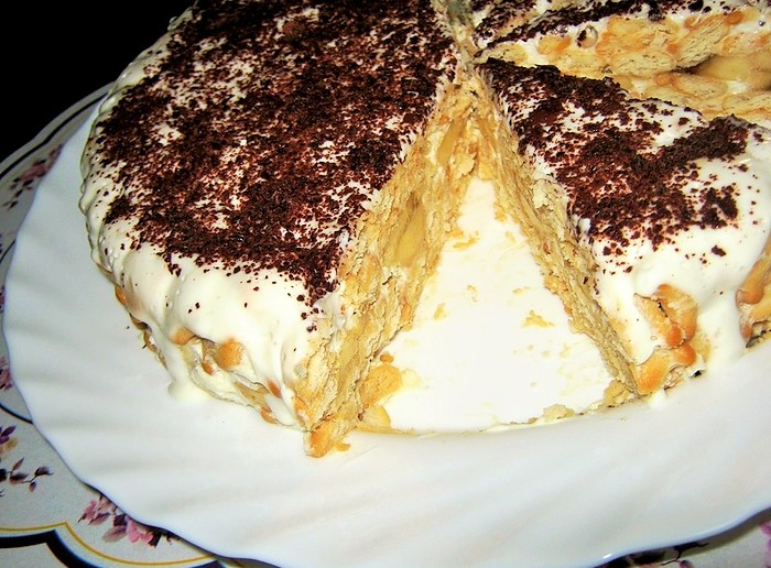 Торт без выпечки из сухого печенья