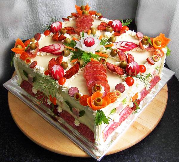 Оформление закусочных тортов салатов